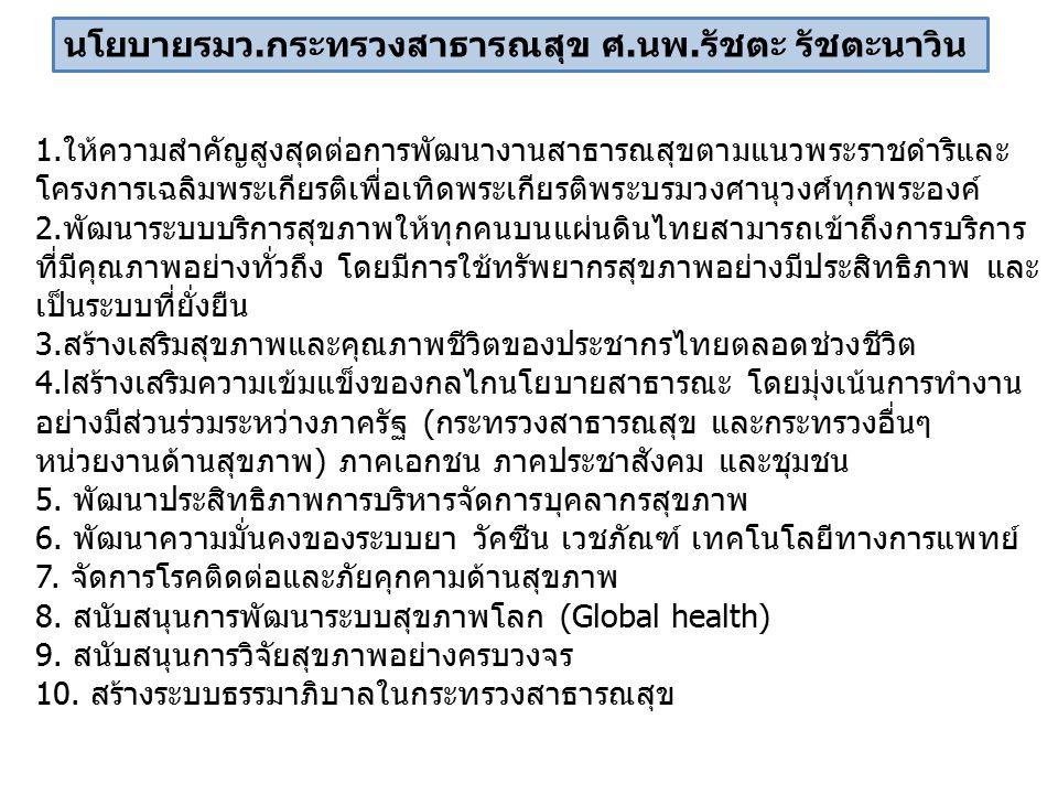 1.ให้ความสำคัญสูงสุดต่อการพัฒนางานสาธารณสุขตามแนวพระราชดำริและ โครงการเฉลิมพระเกียรติเพื่อเทิดพระเกียรติพระบรมวงศานุวงศ์ทุกพระองค์ 2.พัฒนาระบบบริการสุขภาพให้ทุกคนบนแผ่นดินไทยสามารถเข้าถึงการบริการ ที่มีคุณภาพอย่างทั่วถึง โดยมีการใช้ทรัพยากรสุขภาพอย่างมีประสิทธิภาพ และ เป็นระบบที่ยั่งยืน 3.สร้างเสริมสุขภาพและคุณภาพชีวิตของประชากรไทยตลอดช่วงชีวิต 4.lสร้างเสริมความเข้มแข็งของกลไกนโยบายสาธารณะ โดยมุ่งเน้นการทำงาน อย่างมีส่วนร่วมระหว่างภาครัฐ (กระทรวงสาธารณสุข และกระทรวงอื่นๆ หน่วยงานด้านสุขภาพ) ภาคเอกชน ภาคประชาสังคม และชุมชน 5.