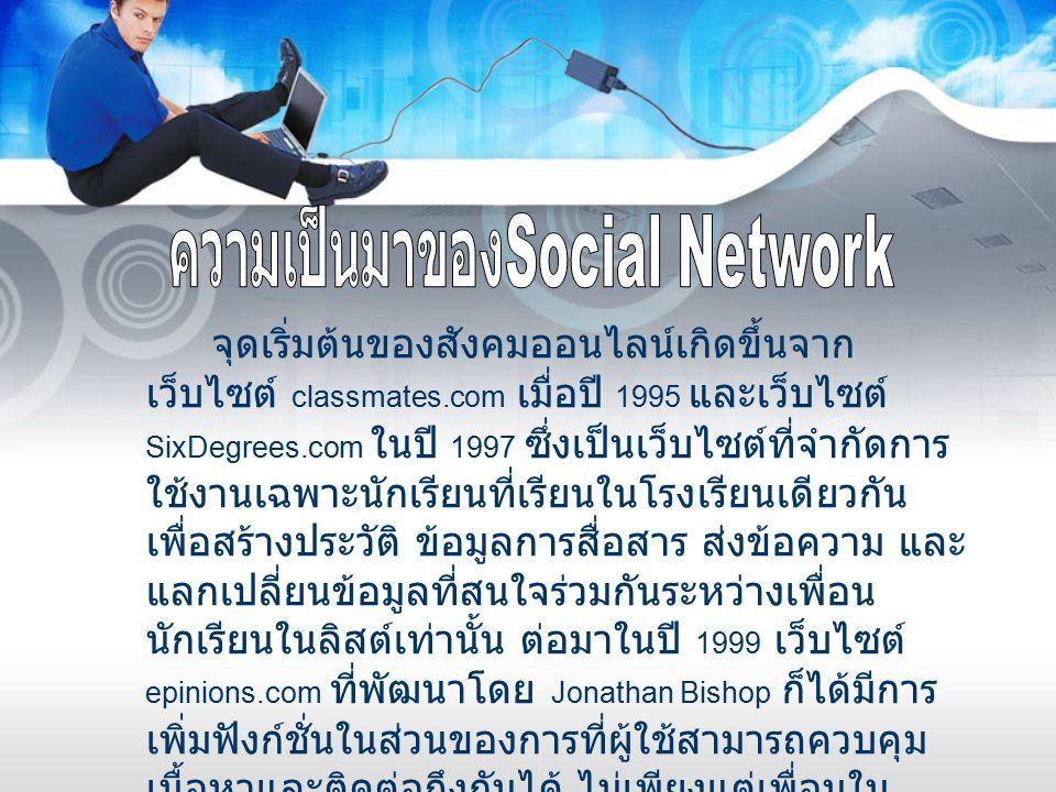 จุดเริ่มต้นของสังคมออนไลน์เกิดขึ้นจาก เว็บไซต์ classmates.com เมื่อปี 1995 และเว็บไซต์ SixDegrees.com ในปี 1997 ซึ่งเป็นเว็บไซต์ที่จำกัดการ ใช้งานเฉพา
