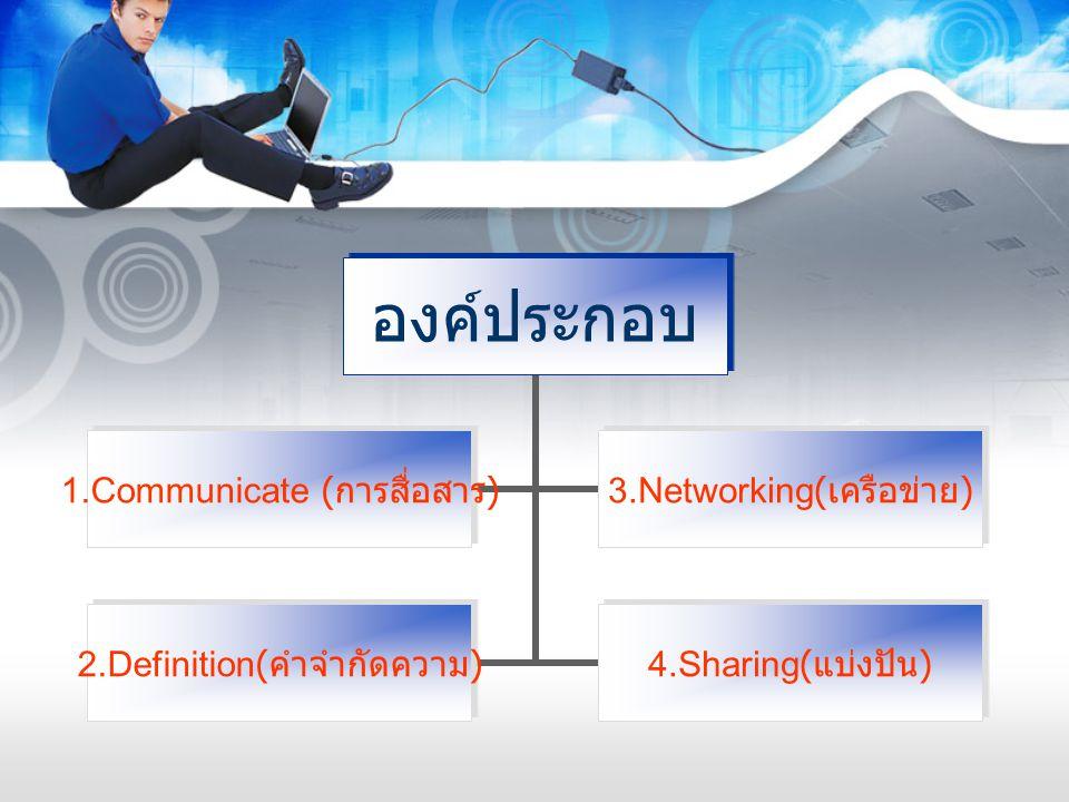 องค์ประกอบ 1.Communicate ( การสื่อสาร ) 3.Networking( เครือข่าย ) 2.Definition( คำ จำกัดความ ) 4.Sharing( แบ่งปัน )