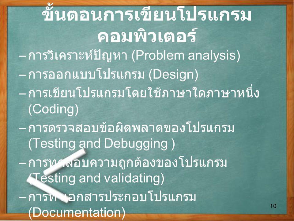 ขั้นตอนการเขียนโปรแกรม คอมพิวเตอร์ – การวิเคราะห์ปัญหา (Problem analysis) – การออกแบบโปรแกรม (Design) – การเขียนโปรแกรมโดยใช้ภาษาใดภาษาหนึ่ง (Coding)