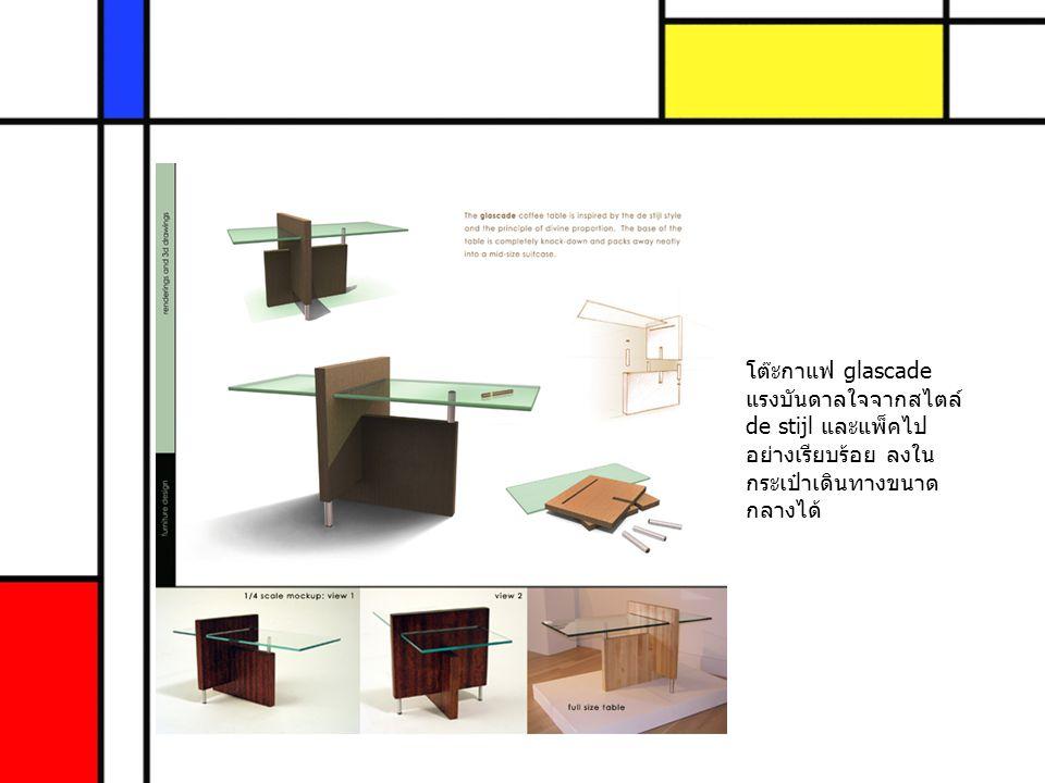 โต๊ะกาแฟ glascade แรงบันดาลใจจากสไตล์ de stijl และแพ็คไป อย่างเรียบร้อย ลงใน กระเป๋าเดินทางขนาด กลางได้