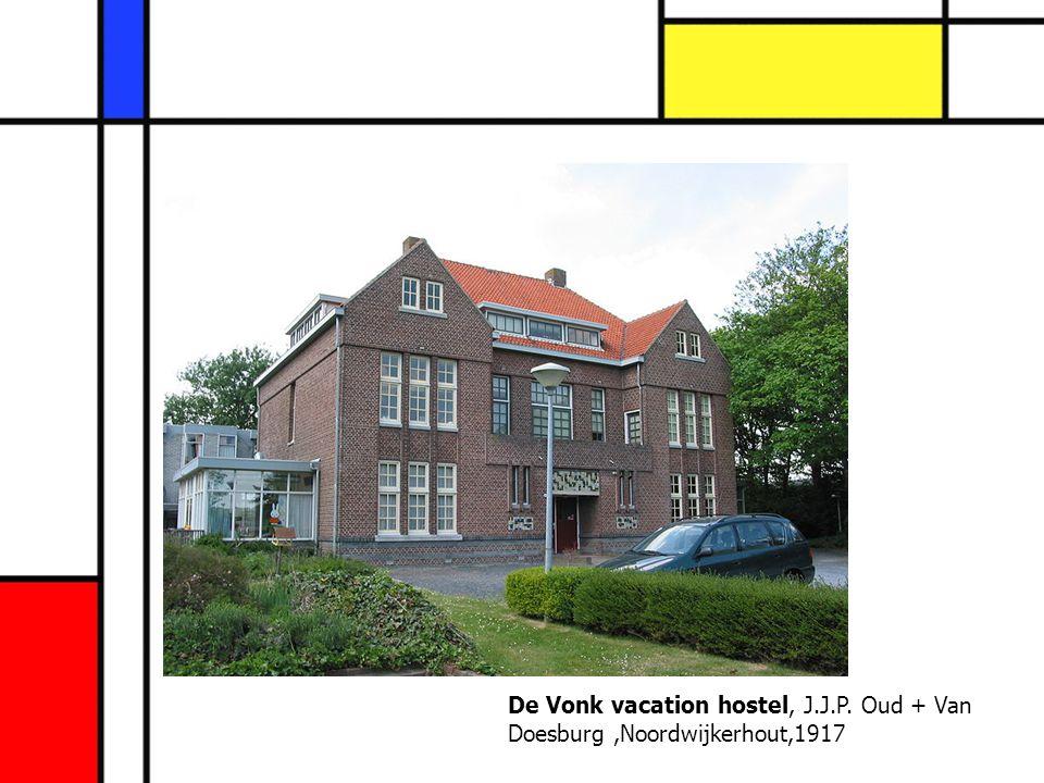 De Vonk vacation hostel, J.J.P. Oud + Van Doesburg,Noordwijkerhout,1917