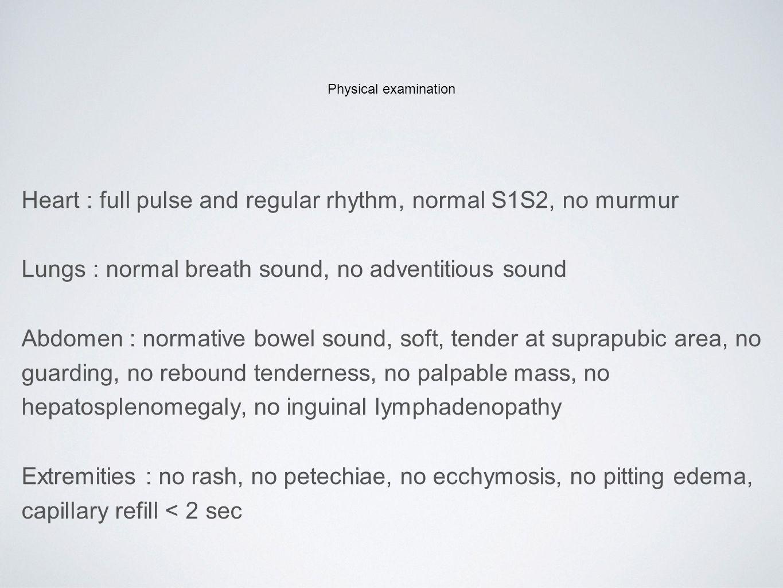 Physical examination Pelvic examination MIUB : normal pubic hair distribution, normal external genitalia, no discharge per urethra, normal Bartholin's gland, Vagina : normal mucosa, no discharge Cervix : multiparous cervix, no grossly lesion, bleeding per os, no cervical motion tenderness Uterus : slightly enlarge (6-8 weeks size), mild tenderness Adnexal : freely move, no mass, not tender Cul-de-sac : no mass, no bulging