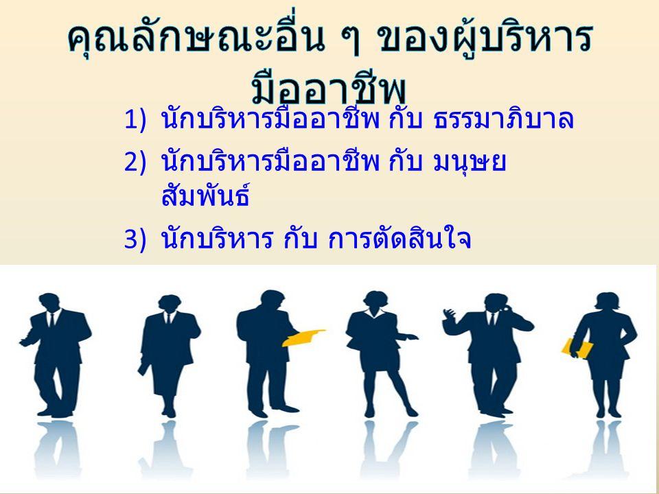 1) นักบริหารมืออาชีพ กับ ธรรมาภิบาล 2) นักบริหารมืออาชีพ กับ มนุษย สัมพันธ์ 3) นักบริหาร กับ การตัดสินใจ