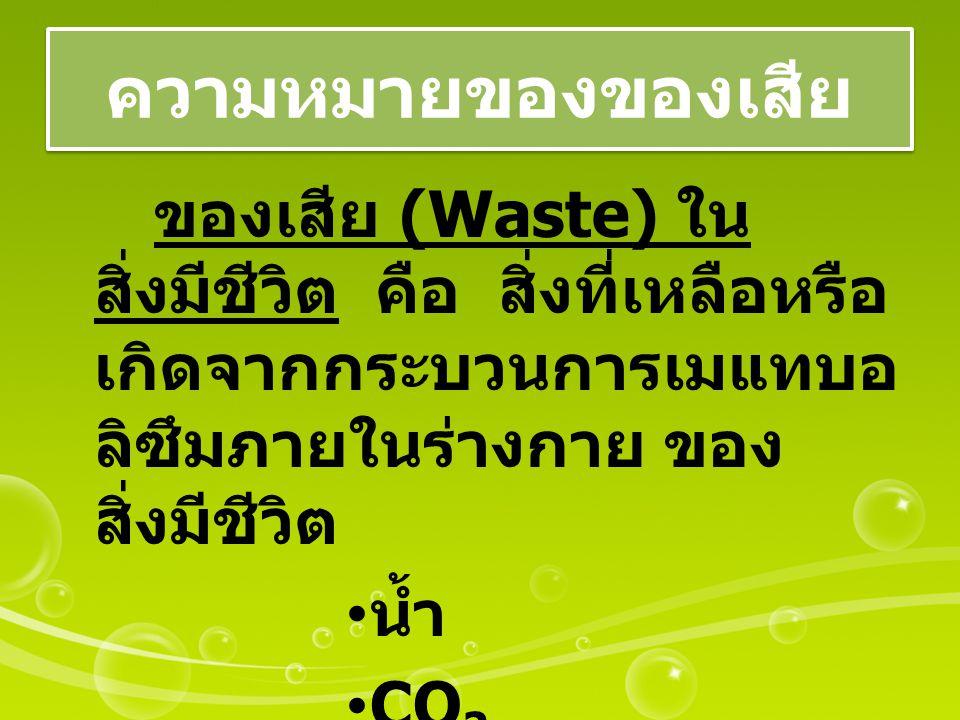 ความหมายของของเสีย ของเสีย (Waste) ใน สิ่งมีชีวิต คือ สิ่งที่เหลือหรือ เกิดจากกระบวนการเมแทบอ ลิซึมภายในร่างกาย ของ สิ่งมีชีวิต น้ำ CO 2 N - Waste