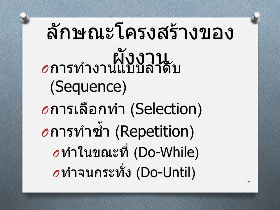 ลักษณะโครงสร้างของ ผังงาน O การทำงานแบบลำดับ (Sequence) O การเลือกทำ (Selection) O การทำซ้ำ (Repetition) O ทำในขณะที่ (Do-While) O ทำจนกระทั่ง (Do-Unt