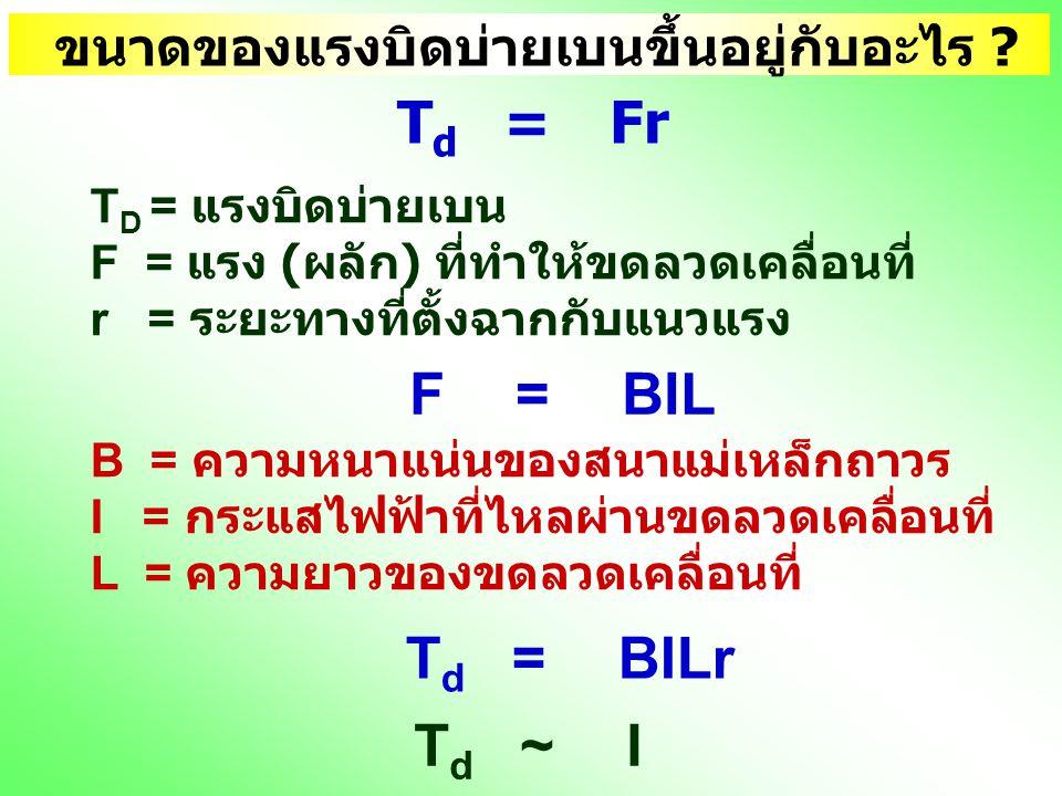 ขนาดของแรงบิดบ่ายเบนขึ้นอยู่กับอะไร ? T d =Fr T D = แรงบิดบ่ายเบน F = แรง ( ผลัก ) ที่ทำให้ขดลวดเคลื่อนที่ r = ระยะทางที่ตั้งฉากกับแนวแรง F =BIL B = ค