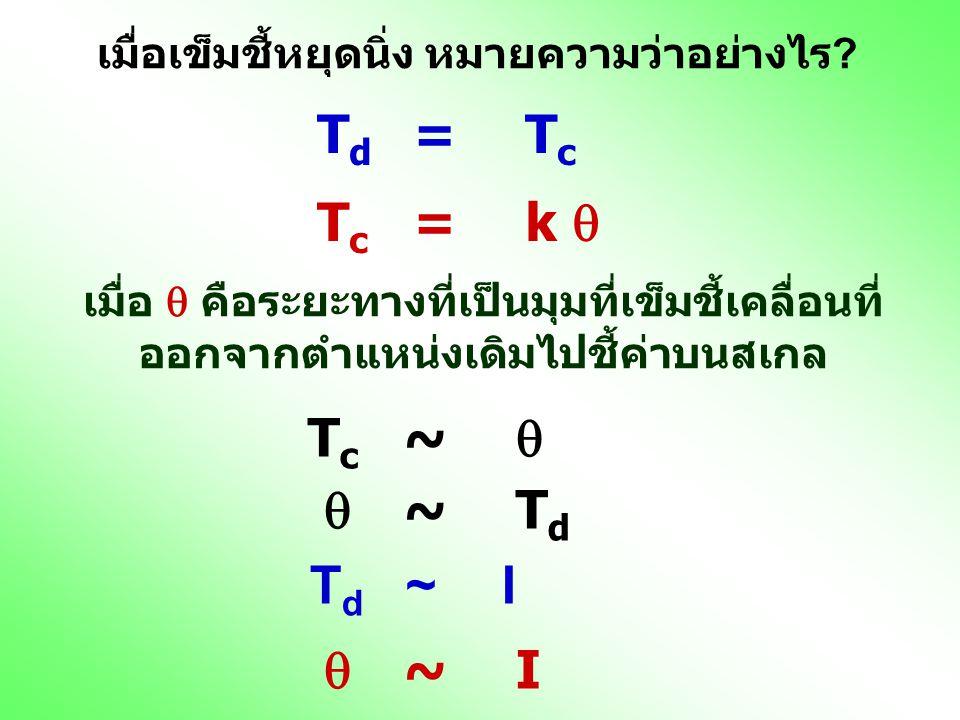 เมื่อเข็มชี้หยุดนิ่ง หมายความว่าอย่างไร ? T d = T c T c = k  Tc~ Tc~  เมื่อ  คือระยะทางที่เป็นมุมที่เข็มชี้เคลื่อนที่ ออกจากตำแหน่งเดิมไปชี้ค่าบนส