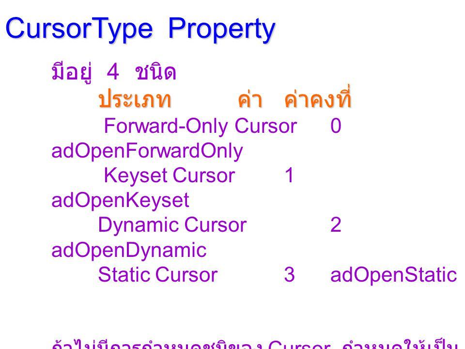 CursorType Property มีอยู่ 4 ชนิด ประเภทค่าค่าคงที่ Forward-Only Cursor0 adOpenForwardOnly Keyset Cursor1 adOpenKeyset Dynamic Cursor2 adOpenDynamic Static Cursor3adOpenStatic ถ้าไม่มีการกำหนดชนิของ Cursor กำหนดให้เป็น ชนิด Forward-Only