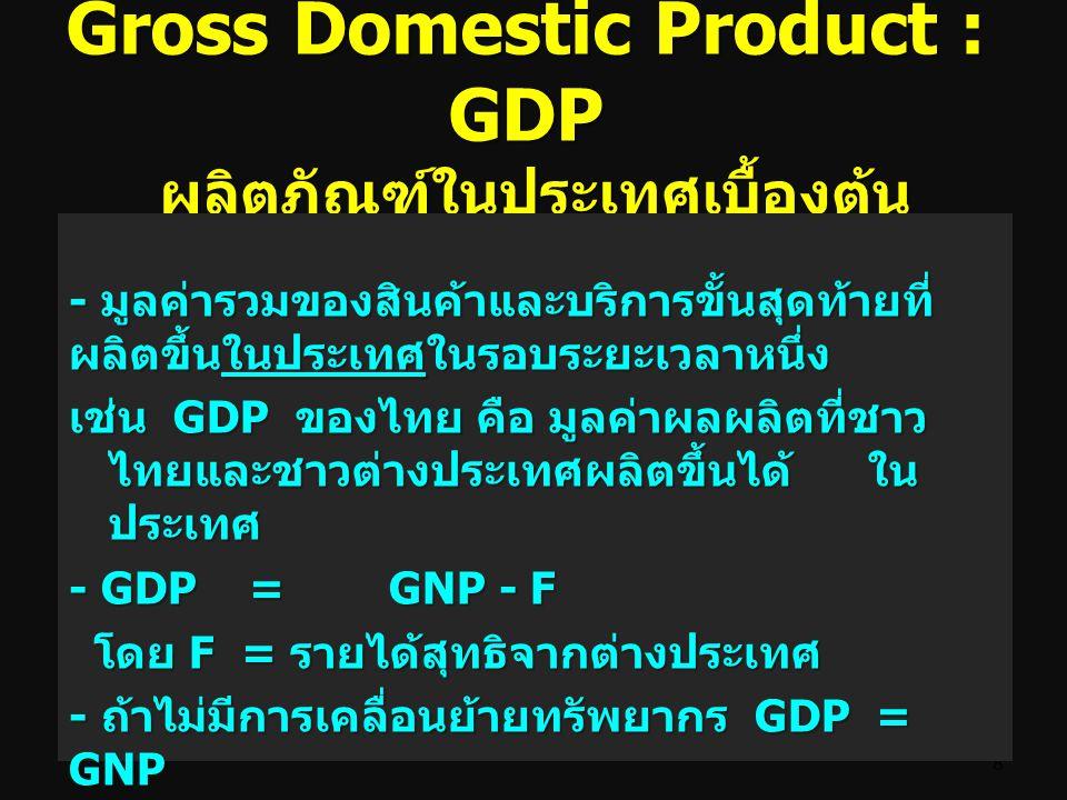 GDP ผลิตภัณฑ์มวลรวมใน ประเทศ Gross Domestic Product : GDP หมายถึง มูลค่าตลาดของ สินค้าและบริการขั้นสุดท้ายที่ ถูกผลิตในประเทศในช่วงเวลา หนึ่งๆ โดยไม่ค
