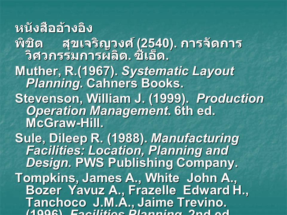 หนังสืออ้างอิง พิชิต สุขเจริญวงศ์ (2540). การจัดการ วิศวกรรมการผลิต. ซีเอ็ด. Muther, R.(1967). Systematic Layout Planning. Cahners Books. Stevenson, W