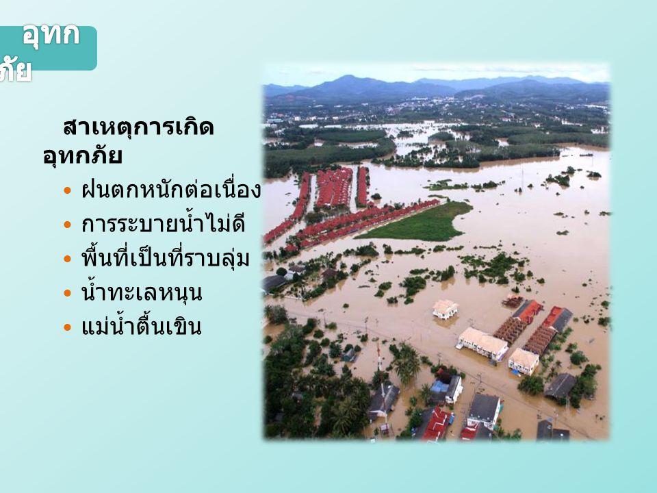 สาเหตุการเกิด อุทกภัย ฝนตกหนักต่อเนื่อง การระบายน้ำไม่ดี พื้นที่เป็นที่ราบลุ่ม น้ำทะเลหนุน แม่น้ำตื้นเขิน