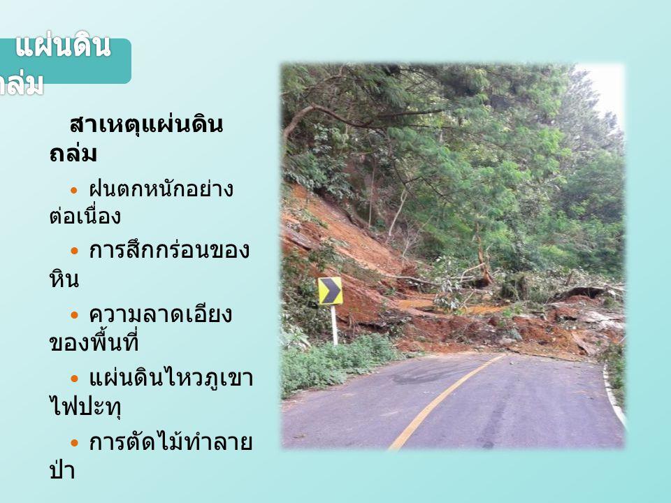 สาเหตุแผ่นดิน ถล่ม ฝนตกหนักอย่าง ต่อเนื่อง การสึกกร่อนของ หิน ความลาดเอียง ของพื้นที่ แผ่นดินไหวภูเขา ไฟปะทุ การตัดไม้ทำลาย ป่า