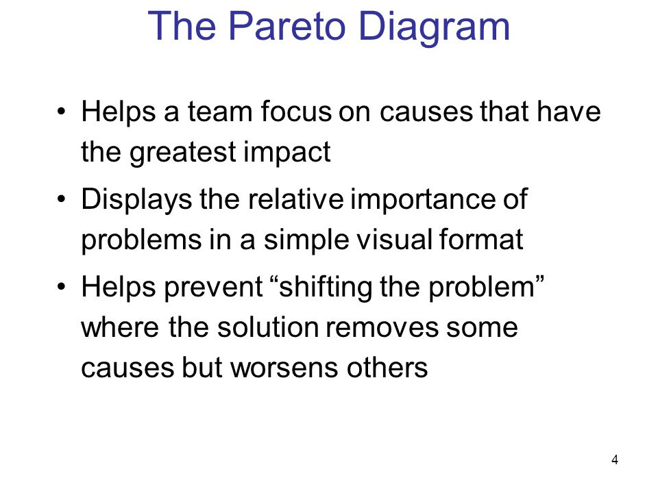 """4 Helps a team focus on causes that have the greatest impact Displays the relative importance of problems in a simple visual format Helps prevent """"shi"""