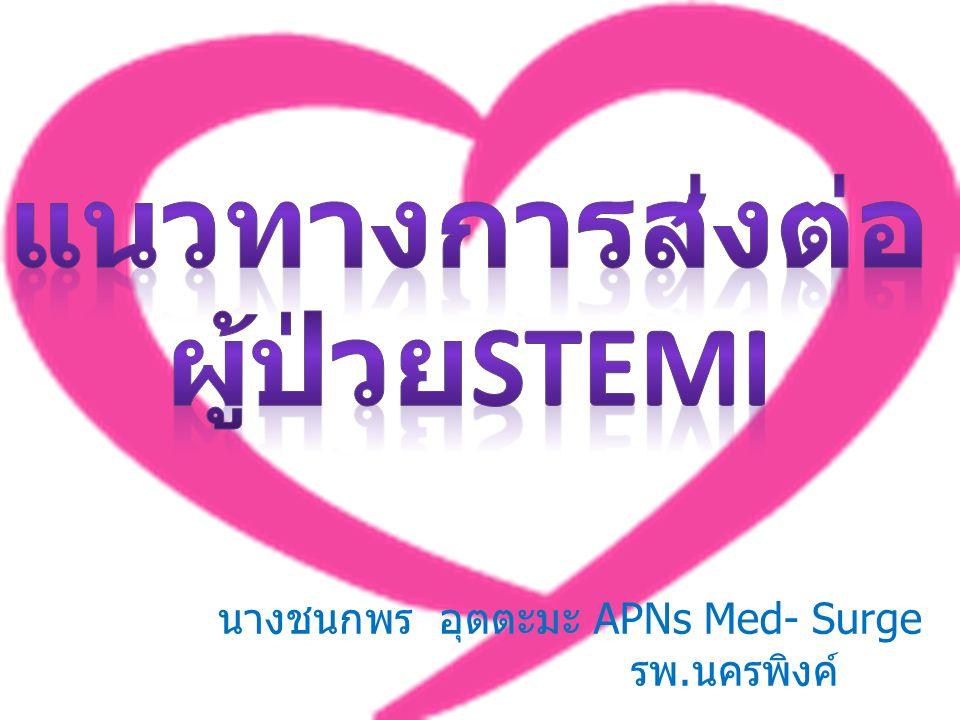 แนวทางการดูแลผู้ป่วยภาวะหัวใจขาดเลือดเฉียบพลัน (Acute Coronary Syndrome) เจ็บเค้นอกสงสัยเกิดจากโรคหัวใจขาดเลือด เฉียบพลัน - เจ็บเค้นอกรุนแรงติดต่อกันมากกว่า 20 นาที - เจ็บเค้นอกรุนแรงขึ้นกว่าที่เคยเป็นมาก่อน บุคคลากรทางการแพทย์ประเมินภาวะเร่งด่วนและให้การบำบัดรักษา เบื้องต้น ❍ RecordV/SและเตรียมCPR ❍ ให้O2, aspirin 160 - 325 มก.
