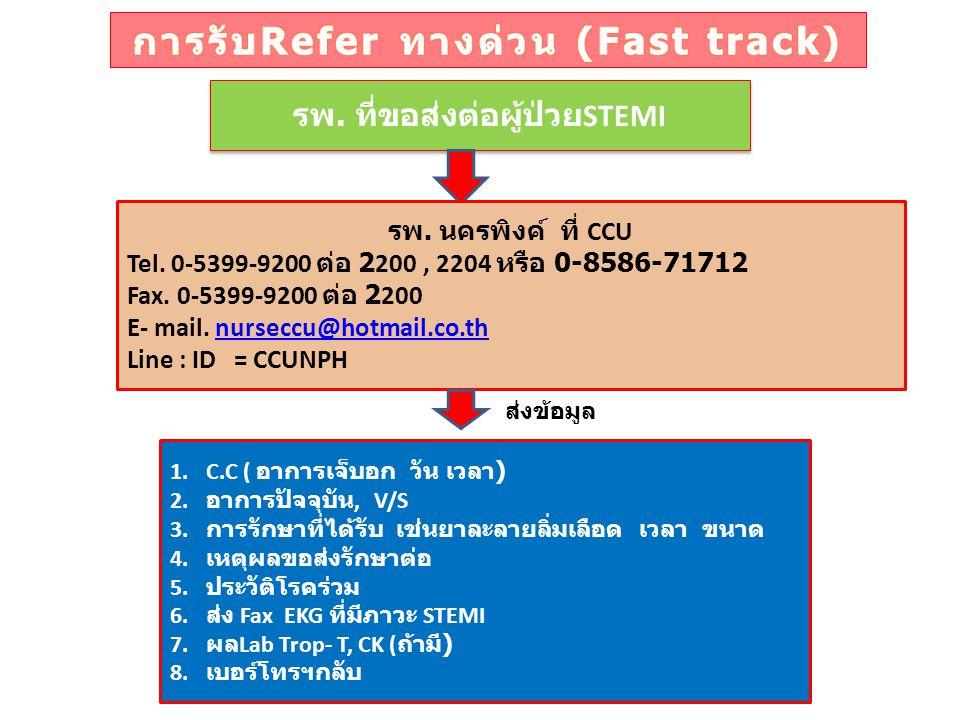 รพ. ที่ขอส่งต่อผู้ป่วย STEMI รพ. นครพิงค์ ที่ CCU Tel. 0-5399-9200 ต่อ 2200, 2204 หรือ 0-8586-71712 Fax. 0-5399-9200 ต่อ 2200 E- mail. nurseccu@hotmai