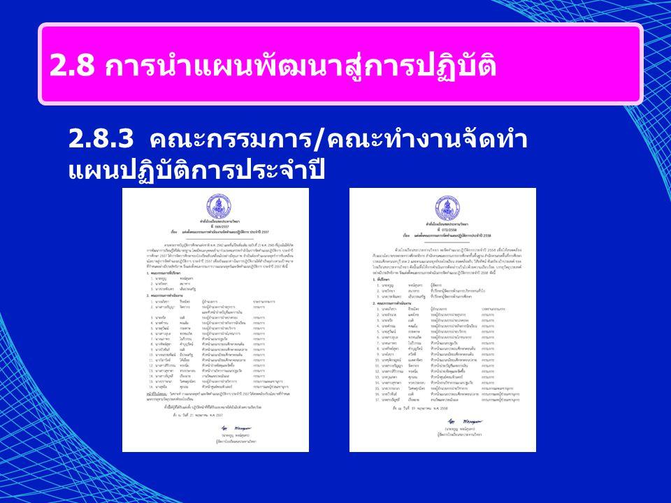 2.8 การนำแผนพัฒนาสู่การปฏิบัติ 2.8.3 คณะกรรมการ / คณะทำงานจัดทำ แผนปฏิบัติการประจำปี