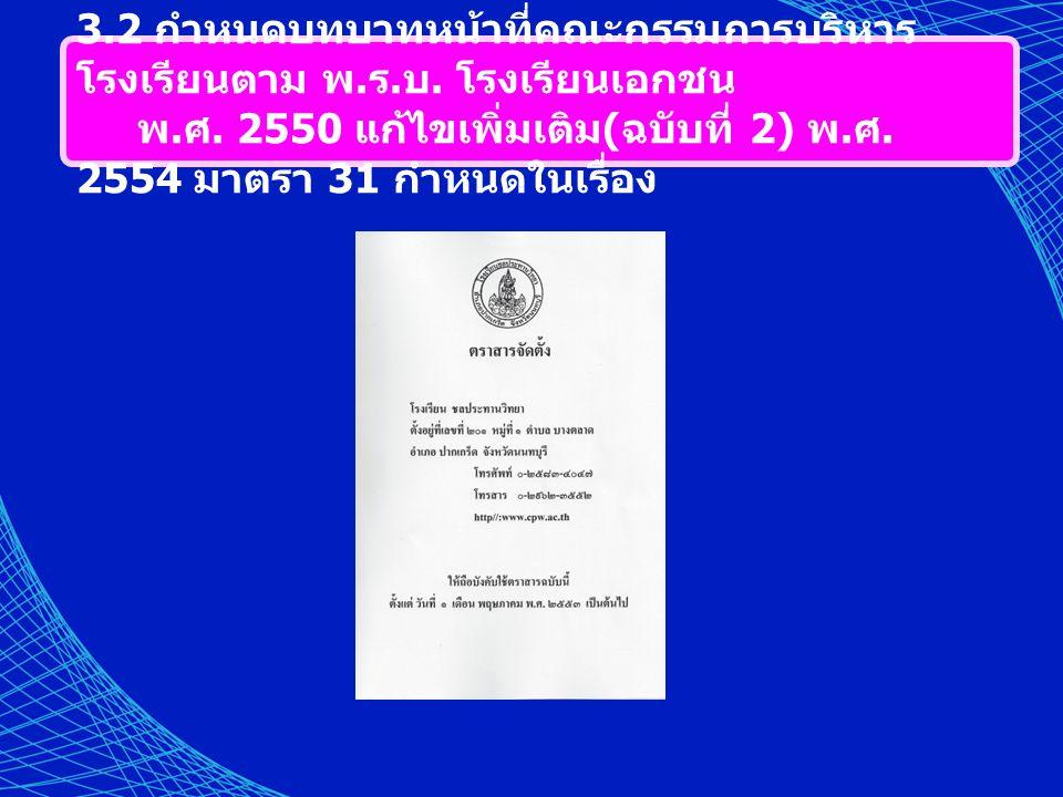 3.2 กำหนดบทบาทหน้าที่คณะกรรมการบริหาร โรงเรียนตาม พ. ร. บ. โรงเรียนเอกชน พ. ศ. 2550 แก้ไขเพิ่มเติม ( ฉบับที่ 2) พ. ศ. 2554 มาตรา 31 กำหนดในเรื่อง