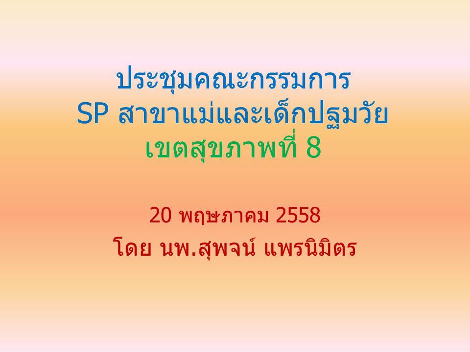 ประชุมคณะกรรมการ SP สาขาแม่และเด็กปฐมวัย เขตสุขภาพที่ 8 20 พฤษภาคม 2558 โดย นพ.สุพจน์ แพรนิมิตร