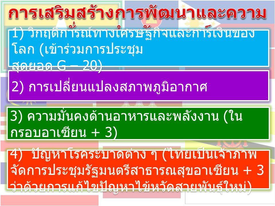 2) การจัดตั้งสมาคมอาเซียน - ประเทศไทย 1) การส่งเสริมการมีส่วนร่วมของประชาชน 3) การจัดตั้งสถานีโทรทัศน์อาเซียน (ASEAN TV)