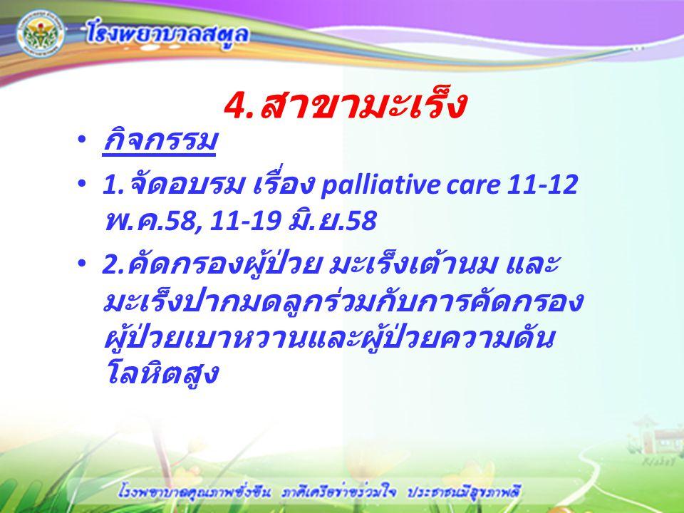 4. สาขามะเร็ง กิจกรรม 1. จัดอบรม เรื่อง palliative care 11-12 พ. ค.58, 11-19 มิ. ย.58 2. คัดกรองผู้ป่วย มะเร็งเต้านม และ มะเร็งปากมดลูกร่วมกับการคัดกร