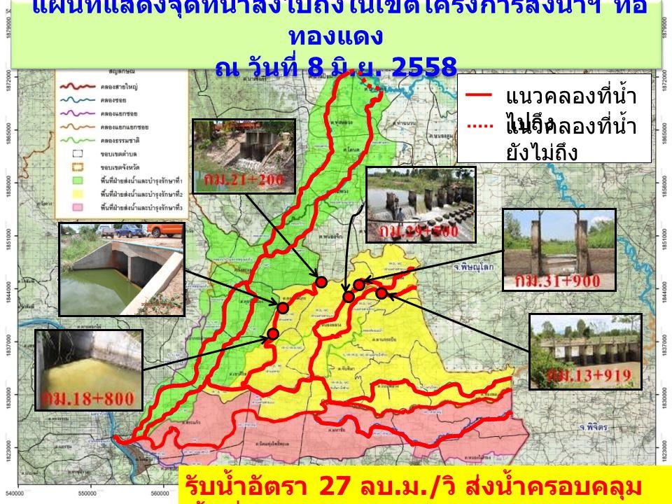 แผนที่แสดงจุดที่น้ำส่งไปถึงในเขตโครงการส่งน้ำฯ ท่อ ทองแดง ณ วันที่ 8 มิ. ย. 2558 แนวคลองที่น้ำ ไปถึง แนวคลองที่น้ำ ยังไม่ถึง รับน้ำอัตรา 27 ลบ. ม./ วิ