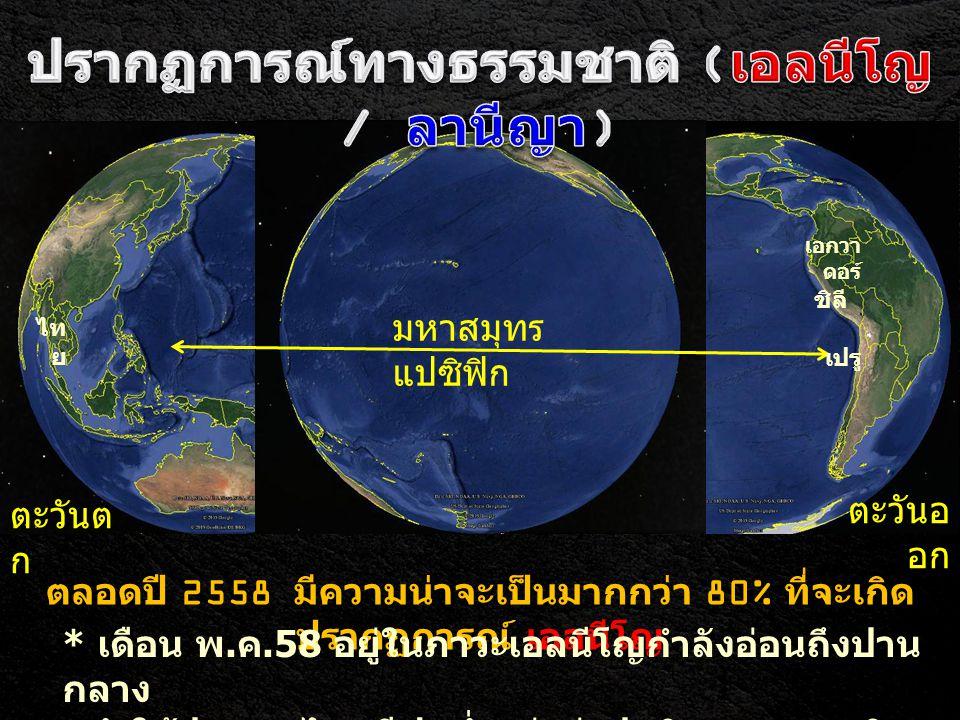 ตะวันต ก ตะวันอ อก มหาสมุทร แปซิฟิก ตลอดปี 2558 มีความน่าจะเป็นมากกว่า 80% ที่จะเกิด ปรากฏการณ์ เอลนีโญ * เดือน พ. ค.58 อยู่ในภาวะเอลนีโญกำลังอ่อนถึงป