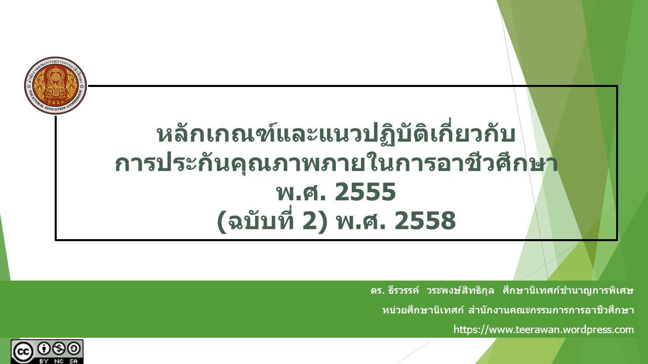 หลักเกณฑ์และแนวปฏิบัติเกี่ยวกับ การประกันคุณภาพภายในการอาชีวศึกษา พ.ศ. 2555 (ฉบับที่ 2) พ.ศ. 2558 ดร. ธีรวรรค์ วระพงษ์สิทธิกุล ศึกษานิเทศก์ชำนาญการพิเ