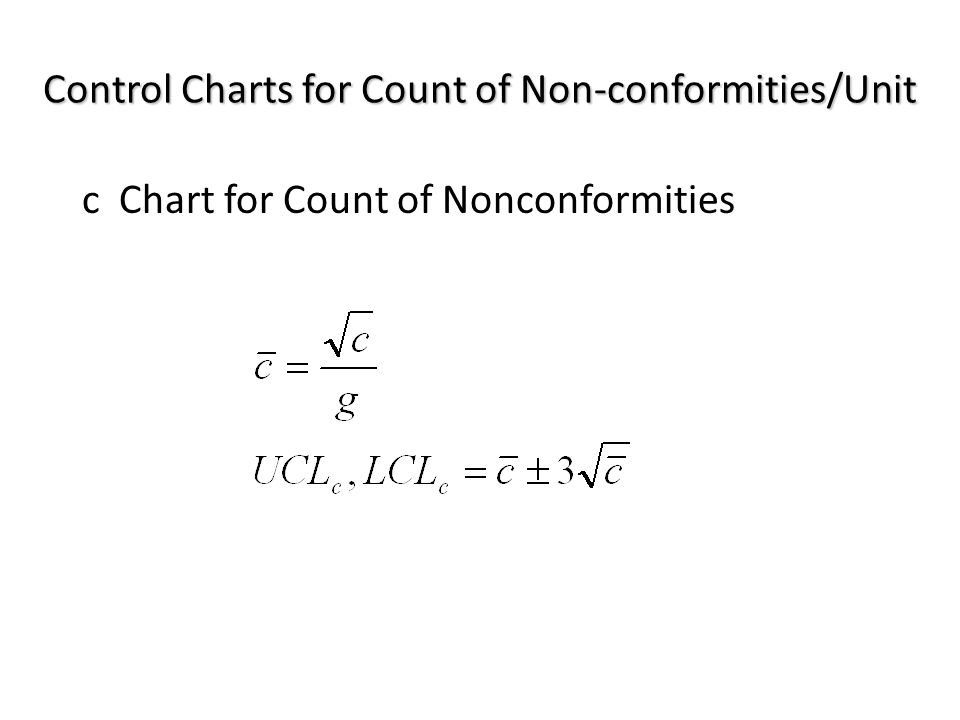 c Chart for Count of Nonconformities Control Charts for Count of Non-conformities/Unit