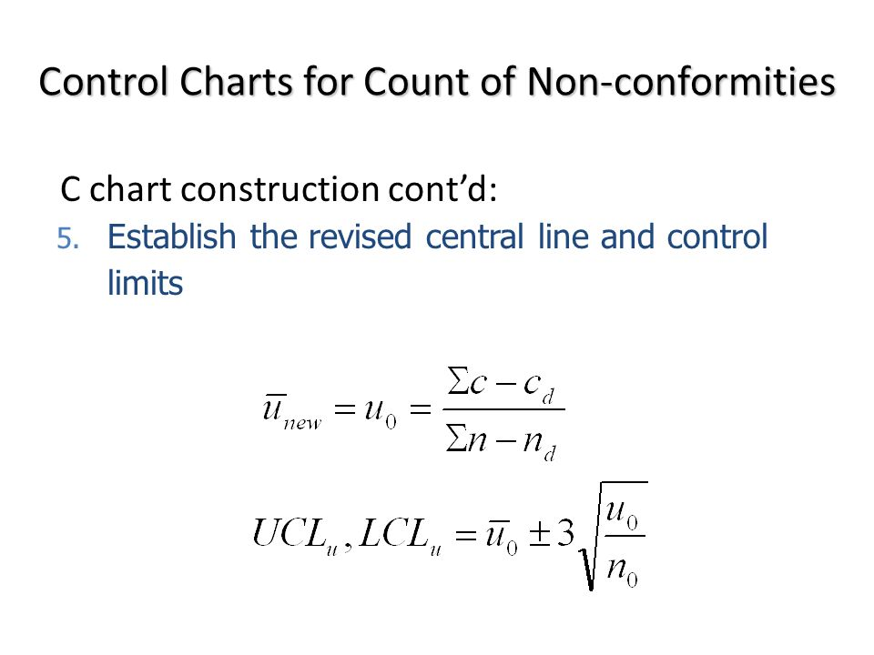 5. Establish the revised central line and control limits Control Charts for Count of Non-conformities C chart construction cont'd:
