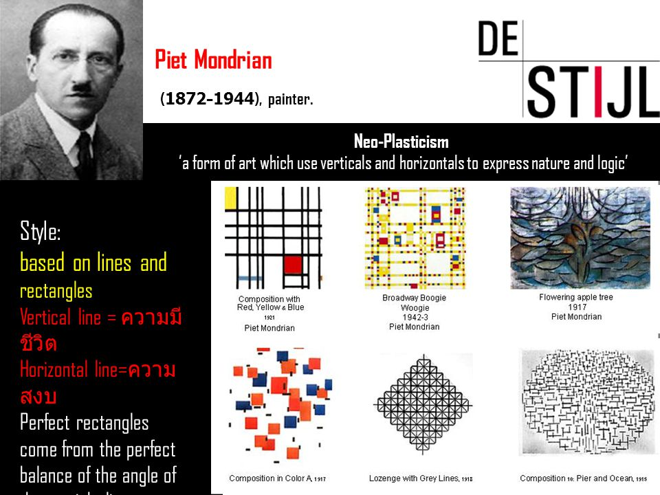 Neo-Plasticism 'a form of art which use verticals and horizontals to express nature and logic' Piet Mondrian (1872–1944), painter. Style: based on lin