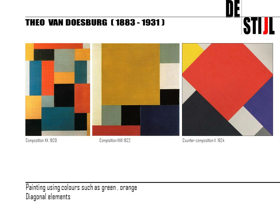 Composition XX. 1920Compisition XXII 1922Counter-composition V. 1924 Painting using colours such as green, orange Diagonal elements
