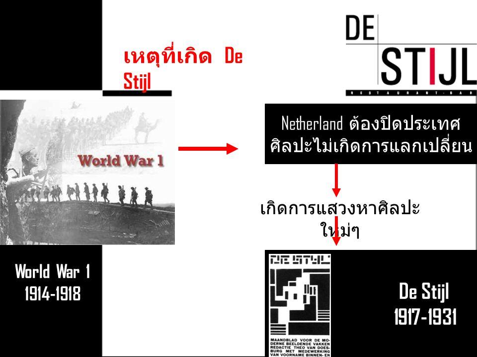 World War 1 1914-1918 Netherland ต้องปิดประเทศ ศิลปะไม่เกิดการแลกเปลี่ยน De Stijl 1917-1931 เกิดการแสวงหาศิลปะ ใหม่ๆ เหตุที่เกิด De Stijl