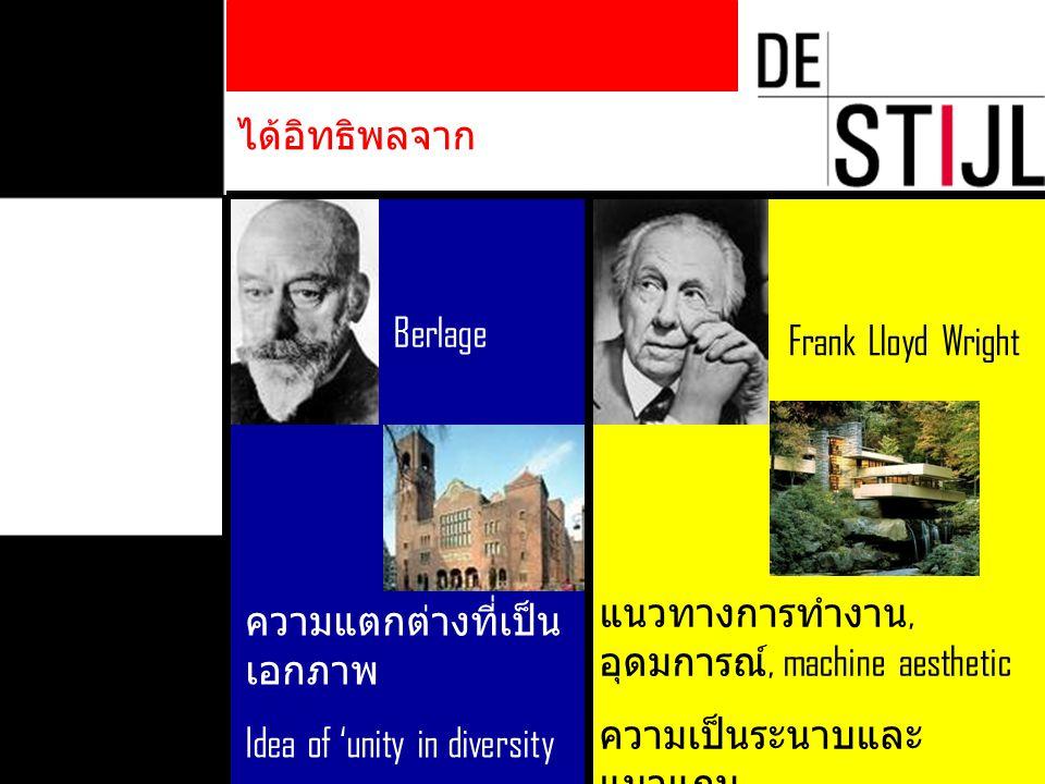 ได้อิทธิพลจาก Berlage ความแตกต่างที่เป็น เอกภาพ Idea of 'unity in diversity Frank Lloyd Wright แนวทางการทำงาน, อุดมการณ์, machine aesthetic ความเป็นระ
