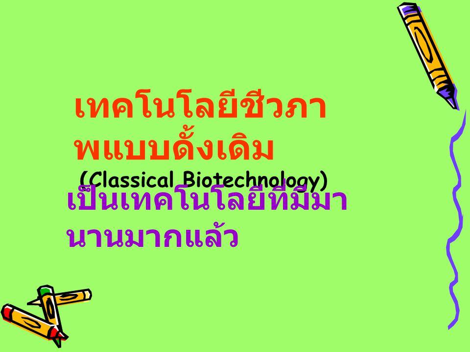 เทคโนโลยีชีวภา พแบบดั้งเดิม (Classical Biotechnology) เป็นเทคโนโลยีที่มีมา นานมากแล้ว