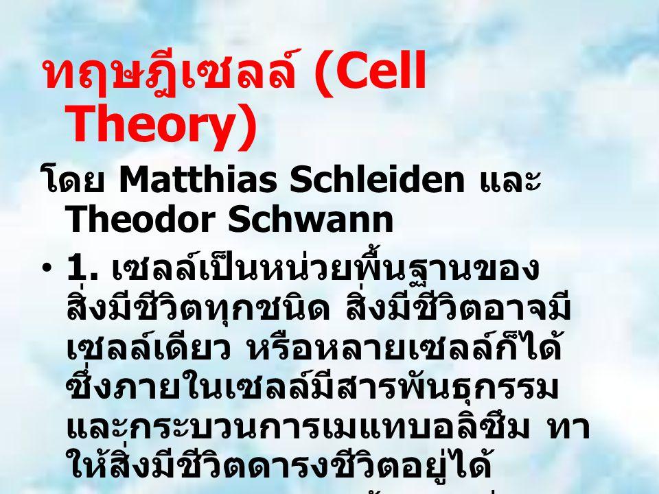 ทฤษฎีเซลล์ (Cell Theory) โดย Matthias Schleiden และ Theodor Schwann 1. เซลล์เป็นหน่วยพื้นฐานของ สิ่งมีชีวิตทุกชนิด สิ่งมีชีวิตอาจมี เซลล์เดียว หรือหลา