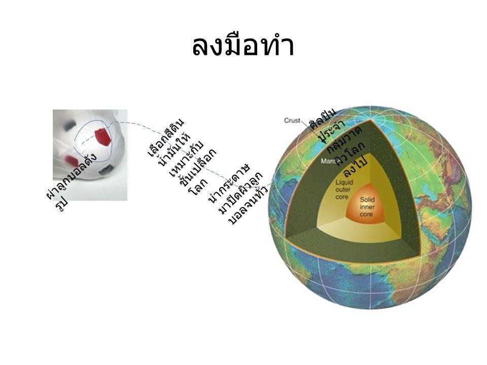 ลงมือทำ เลือกสีดิน น้ำมันให้ เหมาะกับ ชั้นเปลือก โลก นำกระดาษ มาปิดผิวลูก บอลจนทั่ว ศิลปิน ประจำ กลุ่มวาด ผิวโลก ลงไป ผ่าลูกบอลดัง รูป