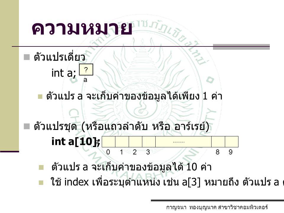 ความหมาย ตัวแปรเดี่ยว int a; ตัวแปร a จะเก็บค่าของข้อมูลได้เพียง 1 ค่า ตัวแปรชุด ( หรือแถวลำดับ หรือ อาร์เรย์ ) int a[10]; กาญจนา ทองบุญนาค สาขาวิชาคอ