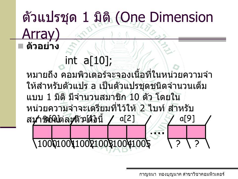 กาญจนา ทองบุญนาค สาขาวิชาคอมพิวเตอร์ ตัวแปรชุด 1 มิติ (One Dimension Array) ตัวอย่าง int a[10]; หมายถึง คอมพิวเตอร์จะจองเนื้อที่ในหน่วยความจำ ให้สำหรั