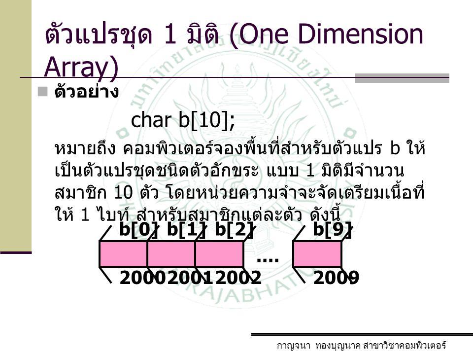 กาญจนา ทองบุญนาค สาขาวิชาคอมพิวเตอร์ ตัวแปรชุด 1 มิติ (One Dimension Array) ตัวอย่าง charb[10]; หมายถึง คอมพิวเตอร์จองพื้นที่สำหรับตัวแปร b ให้ เป็นตั