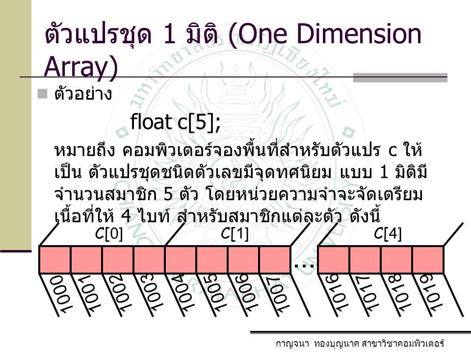กาญจนา ทองบุญนาค สาขาวิชาคอมพิวเตอร์ ตัวแปรชุด 1 มิติ (One Dimension Array) ตัวอย่าง floatc[5]; หมายถึง คอมพิวเตอร์จองพื้นที่สำหรับตัวแปร c ให้ เป็น ต