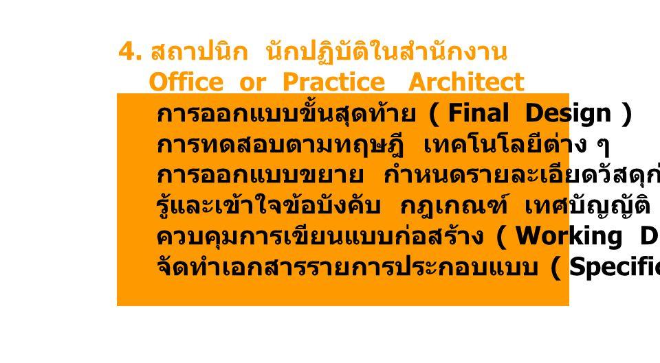 4. สถาปนิก นักปฏิบัติในสำนักงาน Office or Practice Architect การออกแบบขั้นสุดท้าย ( Final Design ) การทดสอบตามทฤษฎี เทคโนโลยีต่าง ๆ การออกแบบขยาย กำหน