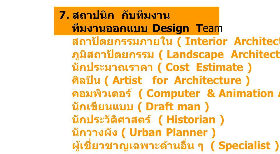 7. สถาปนิก กับทีมงาน ทีมงานออกแบบ Design Team สถาปัตยกรรมภายใน ( Interior Architect ) ภูมิสถาปัตยกรรม ( Landscape Architect ) นักประมาณราคา ( Cost Est
