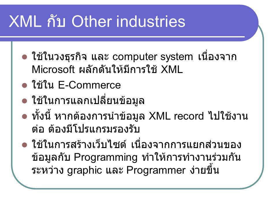 XML กับ Other industries ใช้ในวงธุรกิจ และ computer system เนื่องจาก Microsoft ผลักดันให้มีการใช้ XML ใช้ใน E-Commerce ใช้ในการแลกเปลี่ยนข้อมูล ทั้งนี