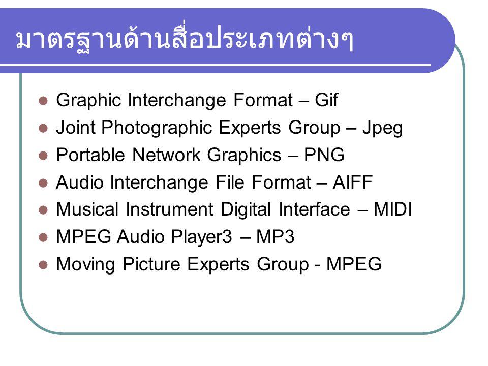มาตรฐานด้านสื่อประเภทต่างๆ Graphic Interchange Format – Gif Joint Photographic Experts Group – Jpeg Portable Network Graphics – PNG Audio Interchange