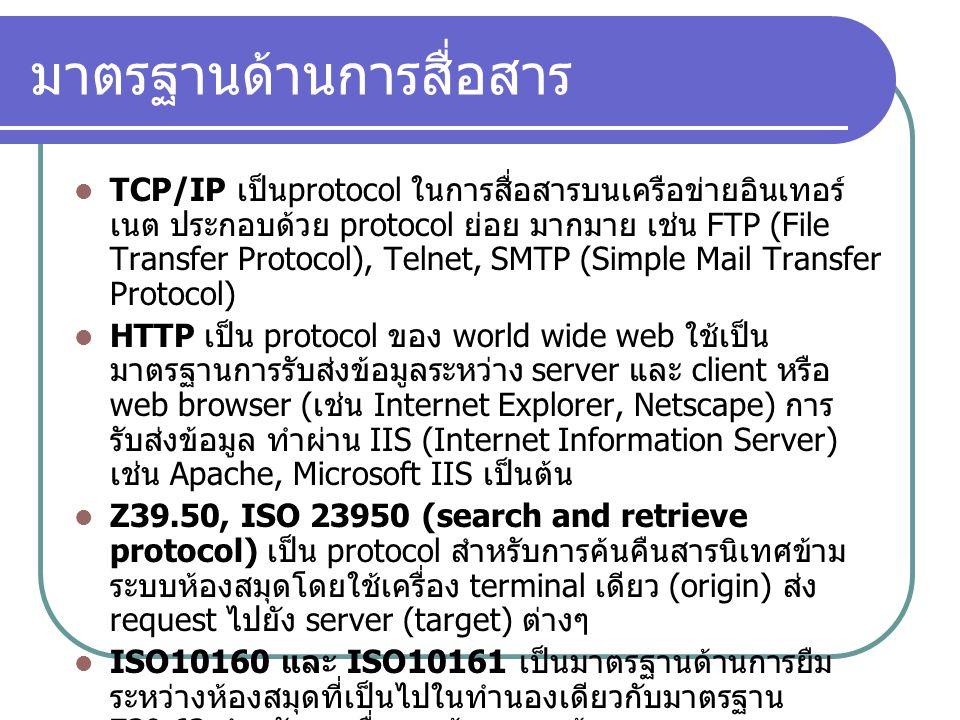 มาตรฐานด้านการสื่อสาร TCP/IP เป็น protocol ในการสื่อสารบนเครือข่ายอินเทอร์ เนต ประกอบด้วย protocol ย่อย มากมาย เช่น FTP (File Transfer Protocol), Teln