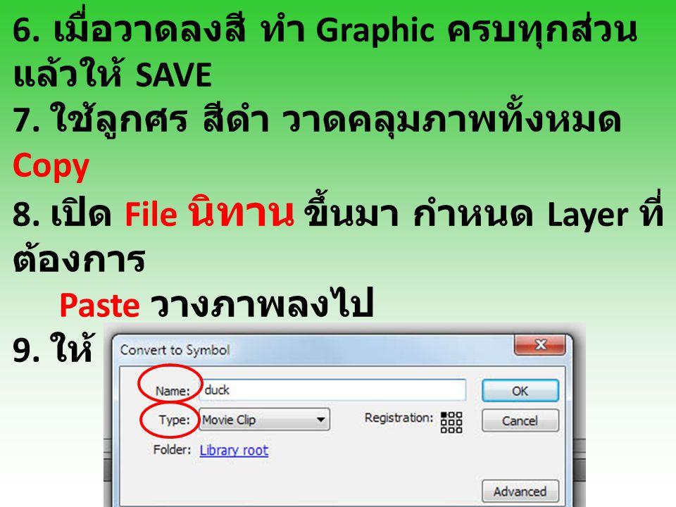 6. เมื่อวาดลงสี ทำ Graphic ครบทุกส่วน แล้วให้ SAVE 7. ใช้ลูกศร สีดำ วาดคลุมภาพทั้งหมด Copy 8. เปิด File นิทาน ขึ้นมา กำหนด Layer ที่ ต้องการ Paste วาง