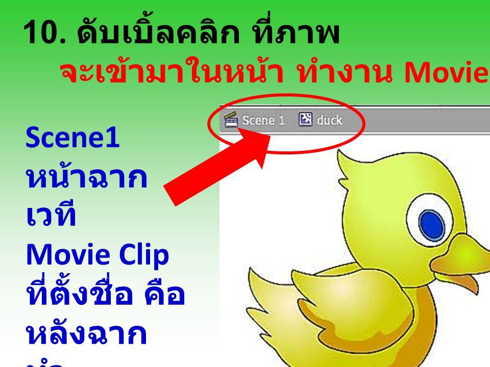 10. ดับเบิ้ลคลิก ที่ภาพ จะเข้ามาในหน้า ทำงาน Movie Clip Scene1 หน้าฉาก เวที Movie Clip ที่ตั้งชื่อ คือ หลังฉาก ทำ เคลื่อนไหว