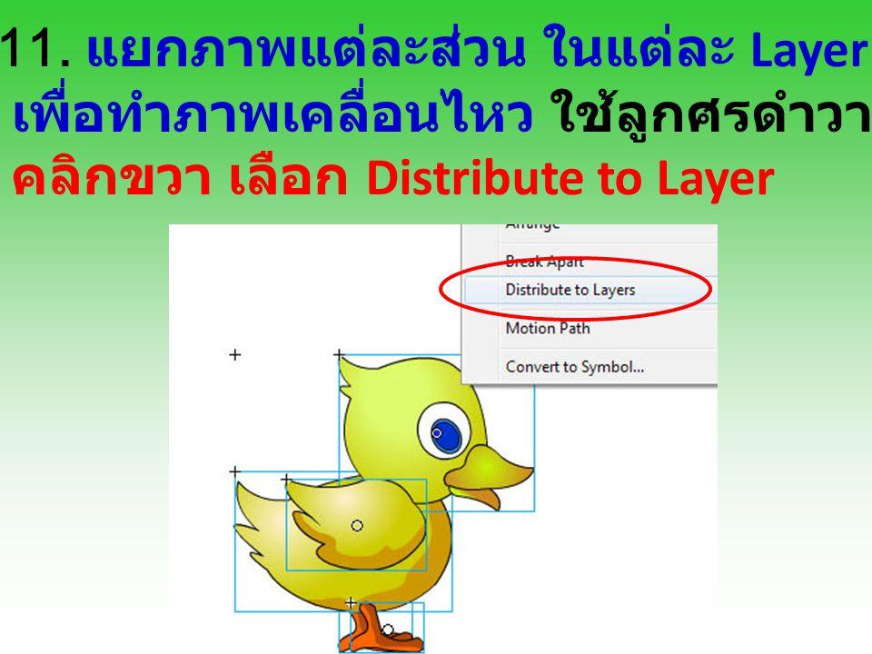 11. แยกภาพแต่ละส่วน ในแต่ละ Layer เพื่อทำภาพเคลื่อนไหว ใช้ลูกศรดำวาดคลุมภาพทั้งหมด คลิกขวา เลือก Distribute to Layer