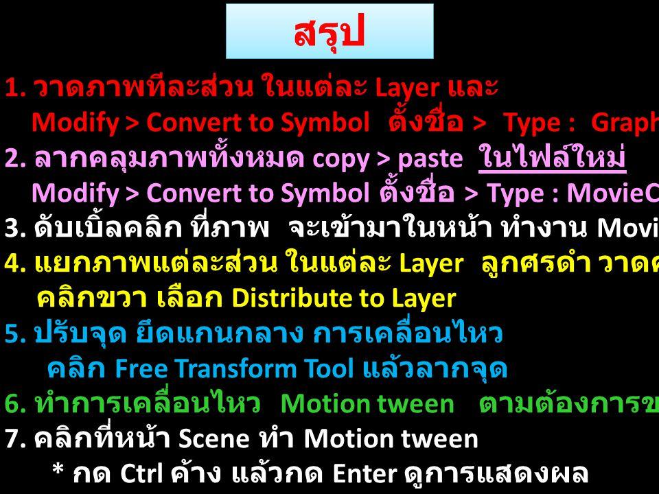 สรุป 1. วาดภาพทีละส่วน ในแต่ละ Layer และ Modify > Convert to Symbol ตั้งชื่อ > Type : Graphic 2. ลากคลุมภาพทั้งหมด copy > paste ในไฟล์ใหม่ Modify > Co